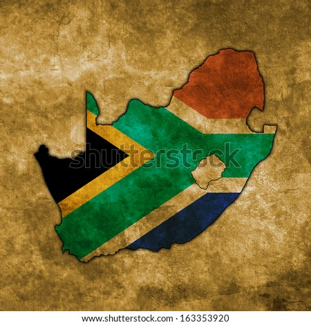 Illustration with flag in map on grunge background - South Africa - stock photo