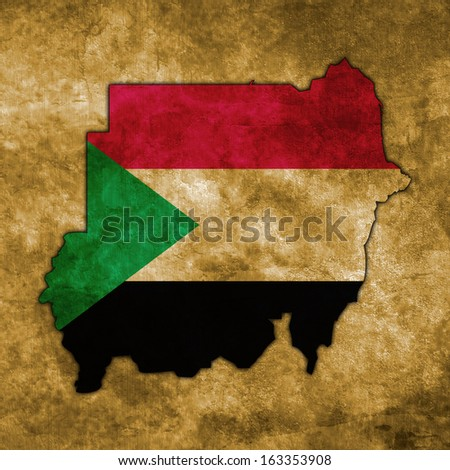 Illustration with flag in map on grunge background - Sudan - stock photo