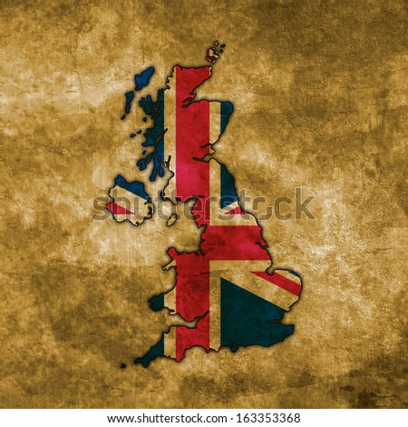 Illustration with flag in map on grunge background - United Kingdom - stock photo
