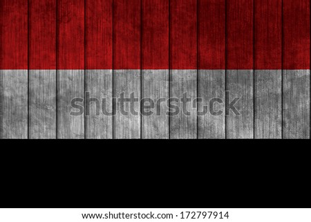 Illustration with flag in map on grunge background - Yemen