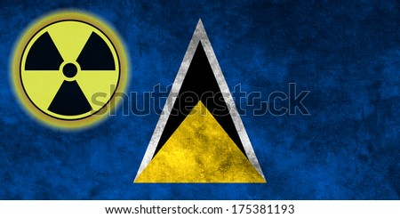 Illustration with flag on grunge background with nuclear sign - Saint Lucia