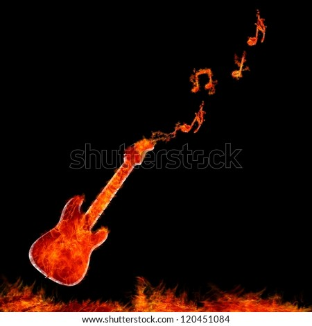 Illustration with flame guitar on black background. - stock photo