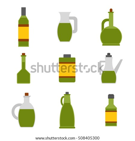 Illustration with flat cartoon olive oil bottles