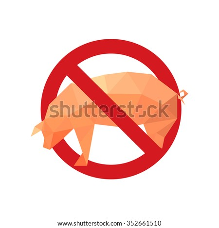 Illustration with forbidden icon and origami pig isolated on white background - stock photo