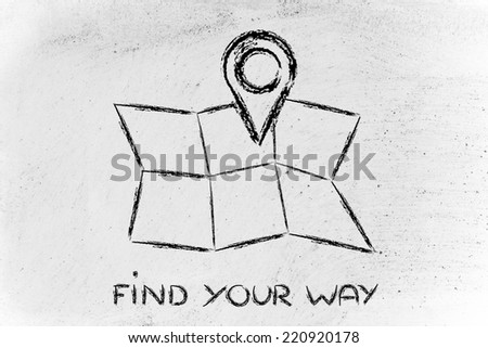 illustration with funny map and geo tagging localisation sign - stock photo