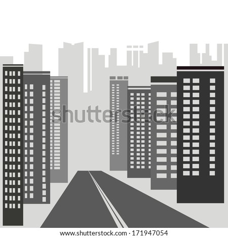 illustration with  gray skyscrapers for your design - stock photo