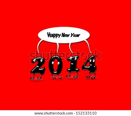 Illustration with 2014 Happy new year with a red background.