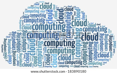 Illustration with keywords related to cloud computing