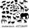 illustration with large animal silhouettes collection isolated on white background - stock vector