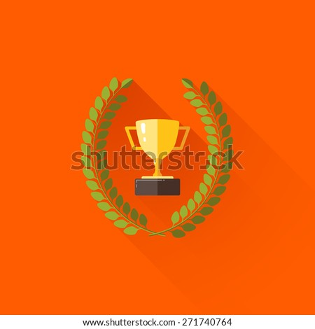 illustration with laurel wreath and champions cup in flat design with long shadow  - stock photo