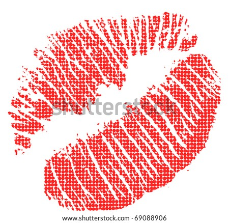 illustration with lips imprint in pop-art style - stock photo