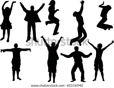 illustration with man and woman silhouettes isolated on white