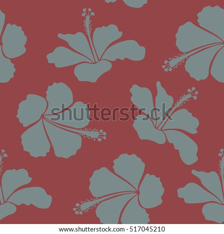 Illustration with many neutral, red and beige hibiscus flowers. Trendy seamless floral pattern.