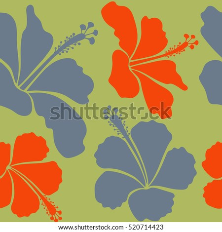 Illustration with many orange, neutral and green hibiscus flowers. Trendy seamless floral pattern.
