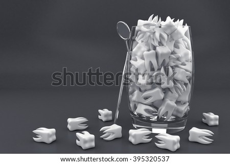 Illustration with many white teeth in glass