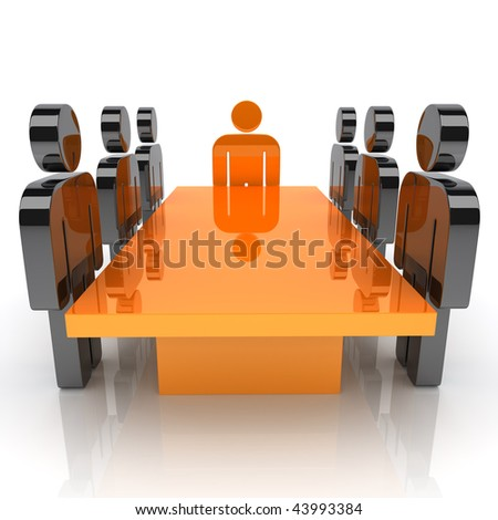 Illustration with meeting of staff and leader (orange) - stock photo