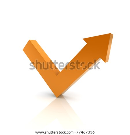Illustration with orange arrow graph growth (color collection) - stock photo