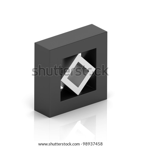 Illustration with orthogonal symbol of frame and rhomb (unity concept) - stock photo