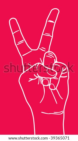 Illustration with peace sign hand gesture.