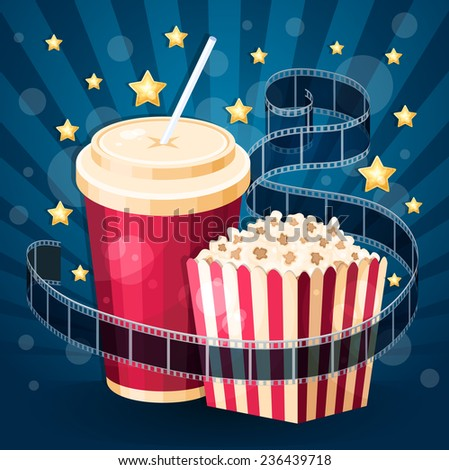 Illustration with popcorn box, cola, film strip and stars on the blue stripy background - stock photo