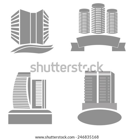 Illustration  with Real Estate Icons on White  Background