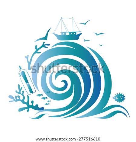 Illustration with sea treasures and big wave Illustration Raster version