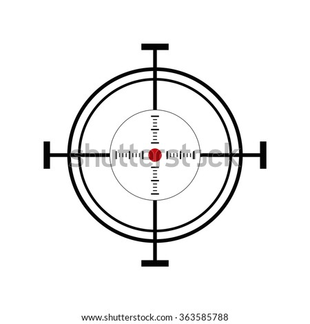Illustration with shooting target icon on white background - stock photo