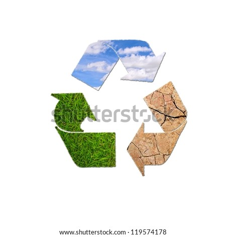 Illustration with sign recycle planet on  white background. - stock photo