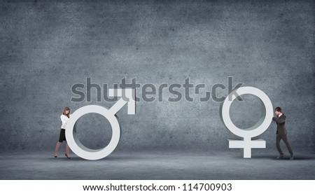 Illustration with symbol of love and different genders symbols