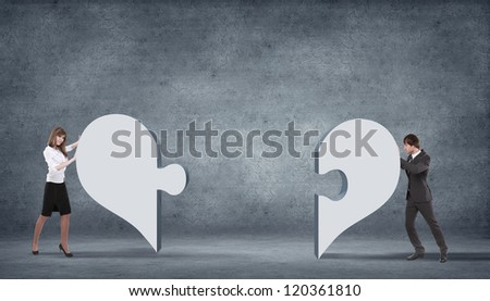 Illustration with symbol of love and different genders symbols - stock photo