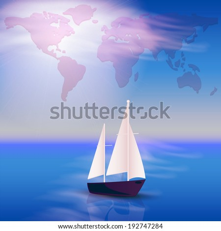 Illustration with the ocean and yacht - stock photo