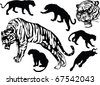 illustration with tiger silhouettes isolated on white background - stock photo