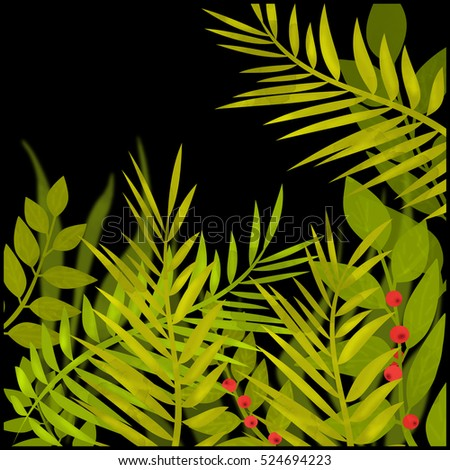 Illustration with tropical leaves on black background