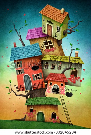 Illustration with unreal tree house for a card or book cover or magazine - stock photo