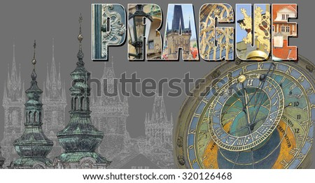 Illustration with view of Prague