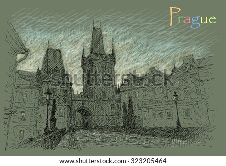 Illustration with view of Prague - stock photo