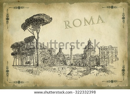 Illustration with view of Rome - stock photo