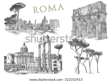 Illustration with view of Rome