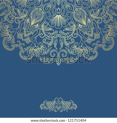 Illustration with vintage pattern for print. Raster version. - stock photo