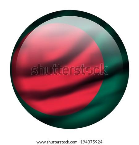 Illustration with waving flag button - Bangladesh - stock photo