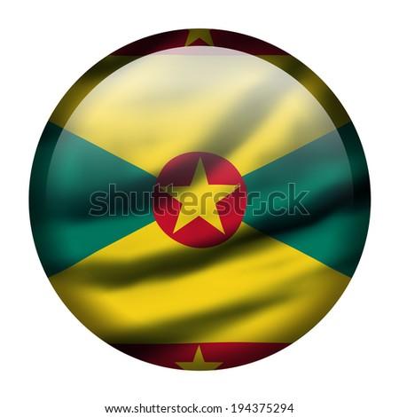 Illustration with waving flag button - Grenada - stock photo