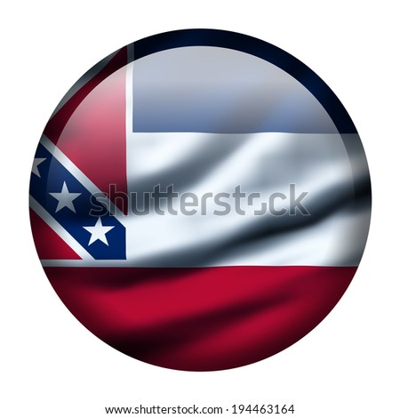 Illustration with waving flag button - Mississippi - stock photo