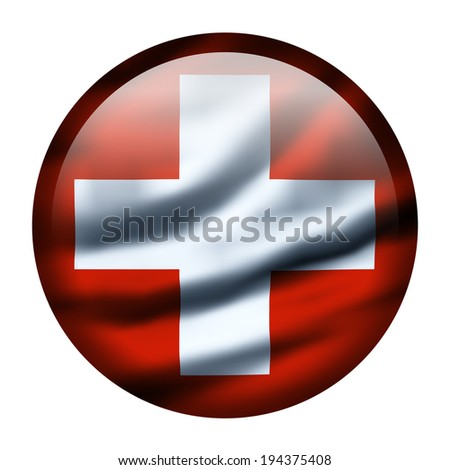 Illustration with waving flag button - Switzerland