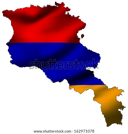 Illustration with waving flag inside map - Armenia