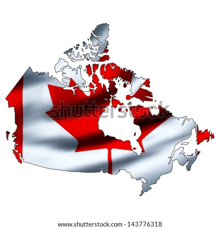 Illustration with waving flag inside map - Canada  - stock photo