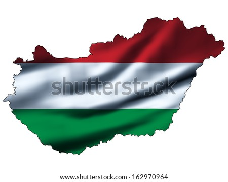 Illustration with waving flag inside map - Hungary