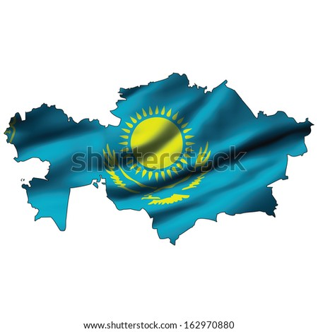 Illustration with waving flag inside map - Kazakhstan - stock photo