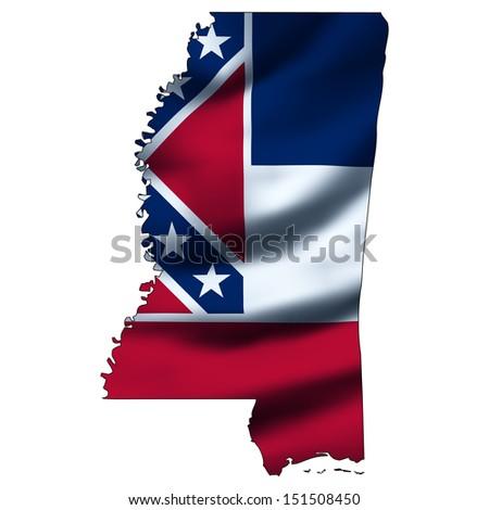 Illustration with waving flag inside map - Mississippi - stock photo