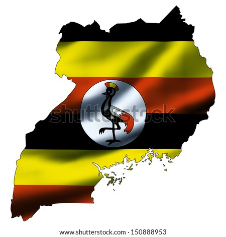 Illustration with waving flag inside map - Uganda