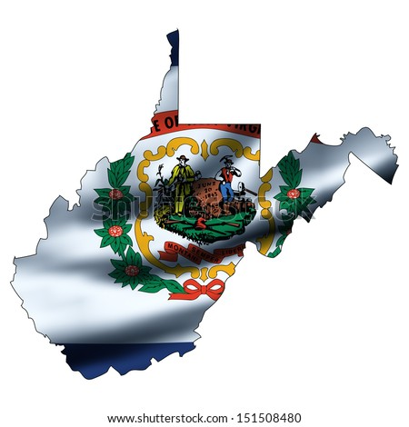 Illustration with waving flag inside map - West Virginia
